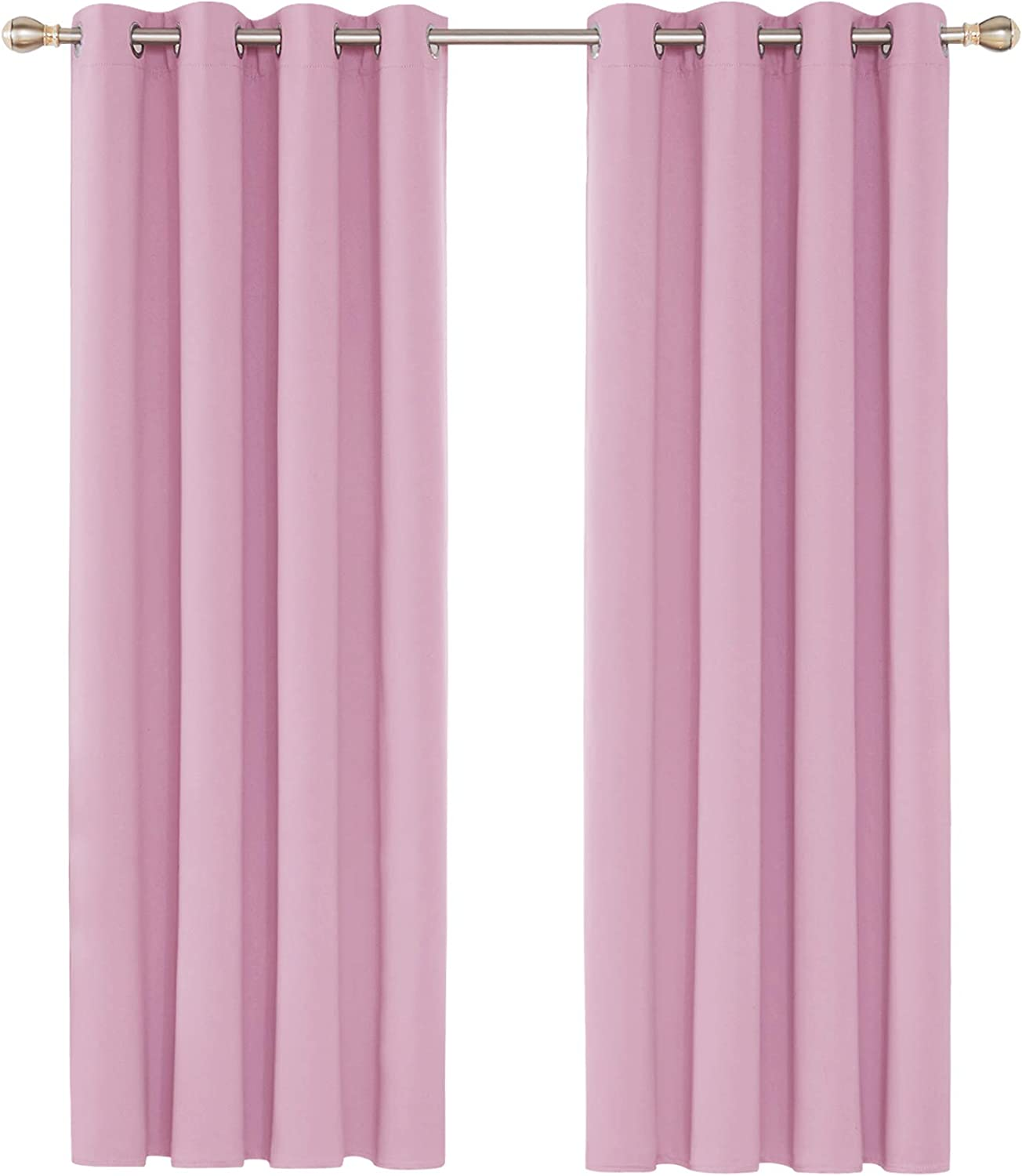 """Deconovo Eyelet Curtains Energy Saving and Room Darkening Curtains Thermal Insulated Blackout Curtains for Nursery 52""""x 72"""" Pink 1 PAIR 2 PANELS x W52""""x L72"""" Pink"""