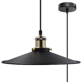 Diamètre 30cm Metal Enuotek Suspendu Plafond Lampe Maximum Mètres Vintage De Suspension Jour 2 Plafonnier Noire Hauteur Abat wknO80P