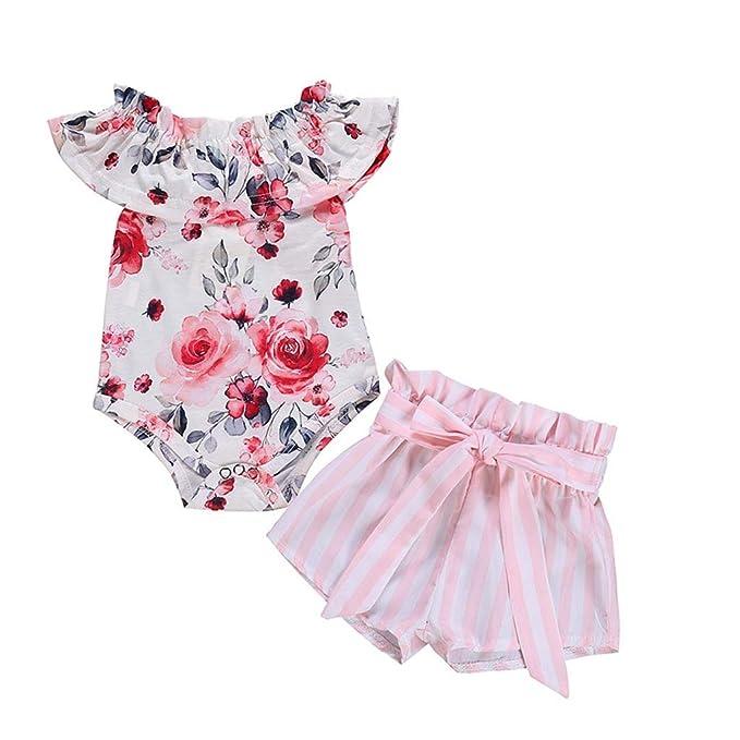 Recién Nacido Bebé Mono, JiaMeng Traje de Mono de Mameluco Floral + ...