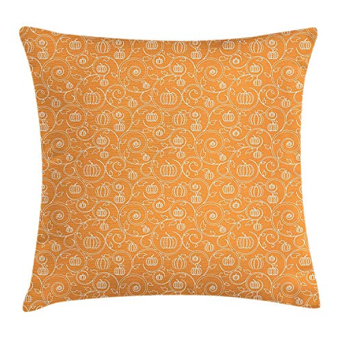 K0k2t0 Harvest Throw Pillow Cushion Cover, Pattern with Pumpkin Leaves and Swirls on Orange Backdrop Halloween Inspired, Decorative Square Accent Pillow Case, 18 X 18 inches, Orange White