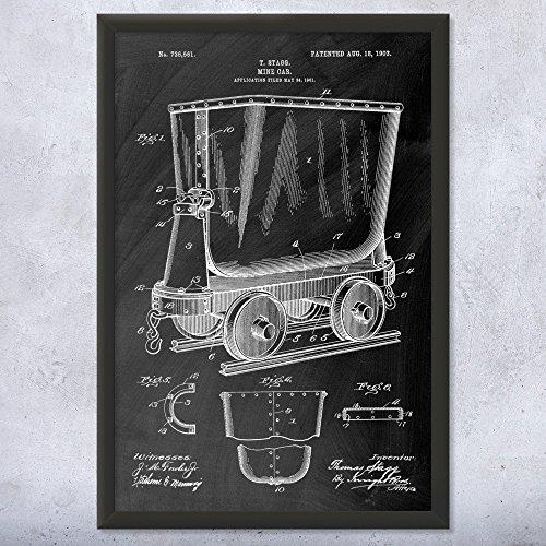 Framed Mine Car Print, Miner Gift, Prospector, Minecart, Coal Miner, Mine Railway, Mineral Wagon, Ore Mining, Gold Rush Chalkboard (Black) (9