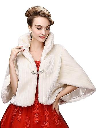 8dbb95821d077 Faux Fur Shawl Wrap Shrug Winter Bridal Wedding Cover Up Wrap Shrug Scarf ,Ivory