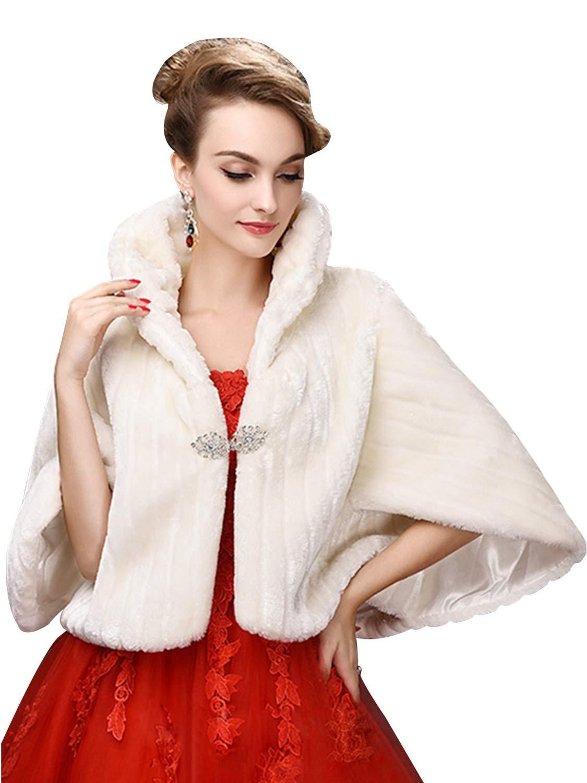 Faux Fur Shawl Wrap Shrug Winter Bridal Wedding Cover Up Wrap Shrug Scarf,Ivory