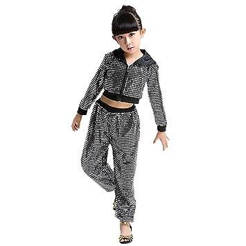 18f6213bf Byjia Children Hip Hop Costume Dance Clothing Girls Sequins Street  Set,Black,100Cm