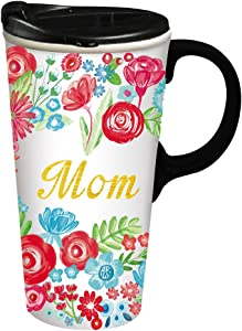 Mom Ceramic Travel Cup - 4 x 5 x 7 Inches For Mothers Day Gift Floral Travel Mug for Mom Grandmother Gift Cup