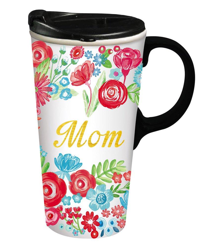 Cypress Home Mom's Apron Ceramic Travel Coffee Mug, 17 ounces
