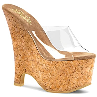 8b40053b190 6 1 2 Inch Sexy Casual Shoe Cork Wedge Sandal Sexy Shoes Clear Cork