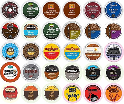 30-count Single Serve All REGULAR Coffee Variety Pack Featuring Green Mountain, Coffee People, Diedrich, Newman's Organic, Emerils, Tim Horton's, Guy Fieri, Marley Coffee, Tully's & More