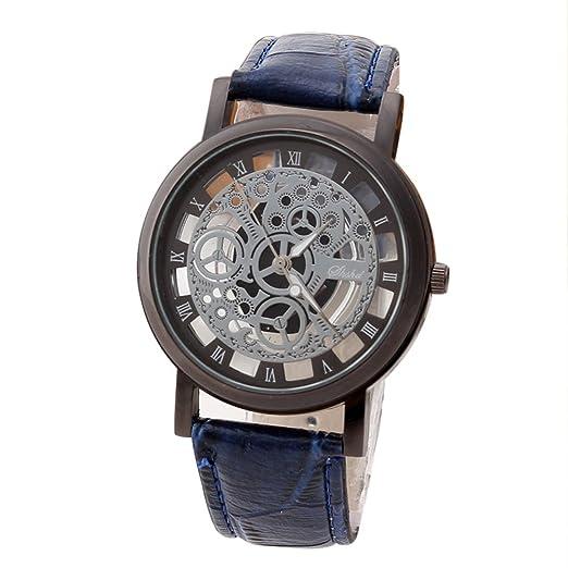 Rosepoem Relojes análogos de cuarzo de caja redonda Relojes minimalistas de lujo Reloj de grabado hueco Reloj de números romanos Reloj de pulsera de cuero ...