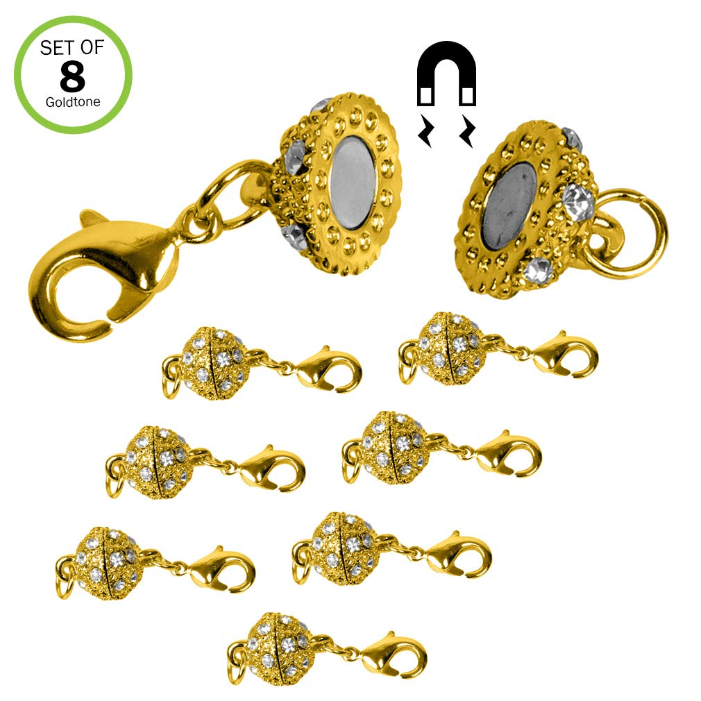 Evelots 8 Magnetic Jewelry Clasps, Rhinestone Ball Style,Goldtone Or Silvertone Lobster Clasp Green Mountain Imports 5486