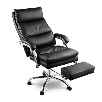 Neader 2 Layered Thicken High Back Executive Office Chair Reclining PU  Leather Management Chair With Footrest