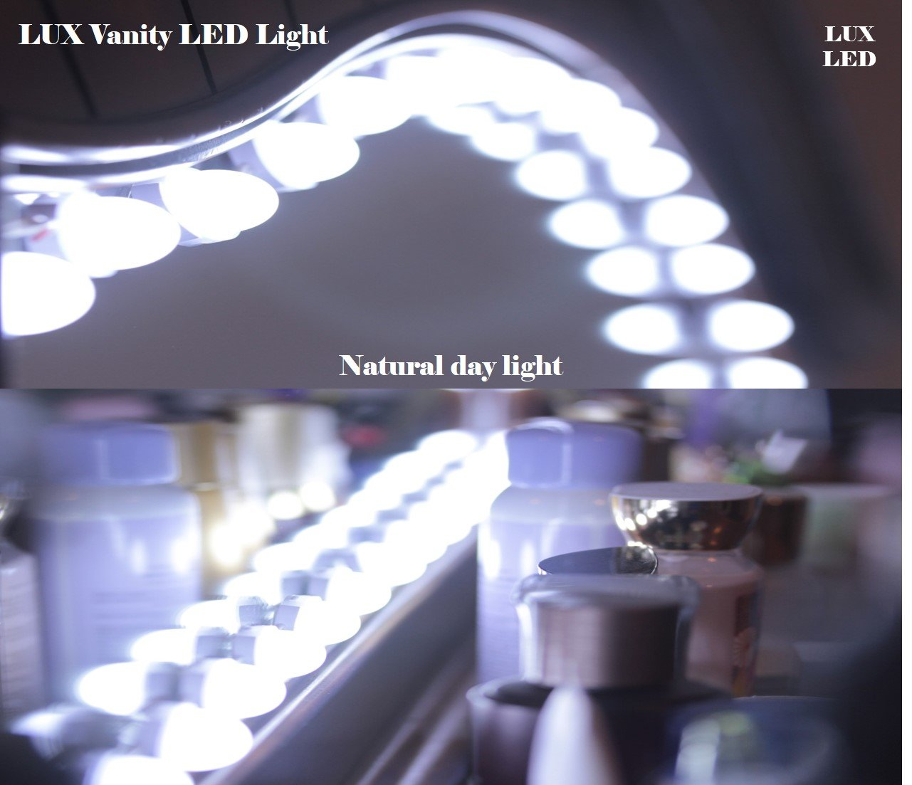 LUXLED Luxurious Anti-Glare LED Lights Vanity Makeup Cosmetic Mirror Touch Dimmable Switch Memory Function Day Light All in One Plug & Play Kit (19ft)