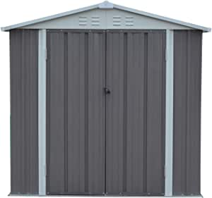 Outdoor Garden Storage Shed 6X4 FT Yard Storage Tool Utility Lawn Building Organizer Lockable Sliding Door 4 Vents
