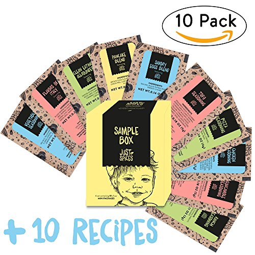 (Just Spices Sampler Box | Bundle of 10 Mini Spices and Seasoning-Blends including Recipes, 10 Count)