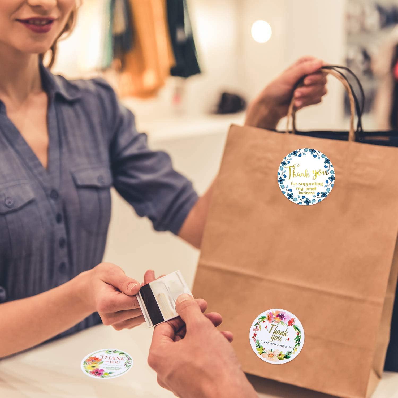 500 Pezzi Etichette Adesive Grazie Thank You For Supporting My Small Business Sticker Etichette Adesive Grazie Cerchio Rotondo per Busta Sigilli Decorazioni Forniture per Feste 3.8cm