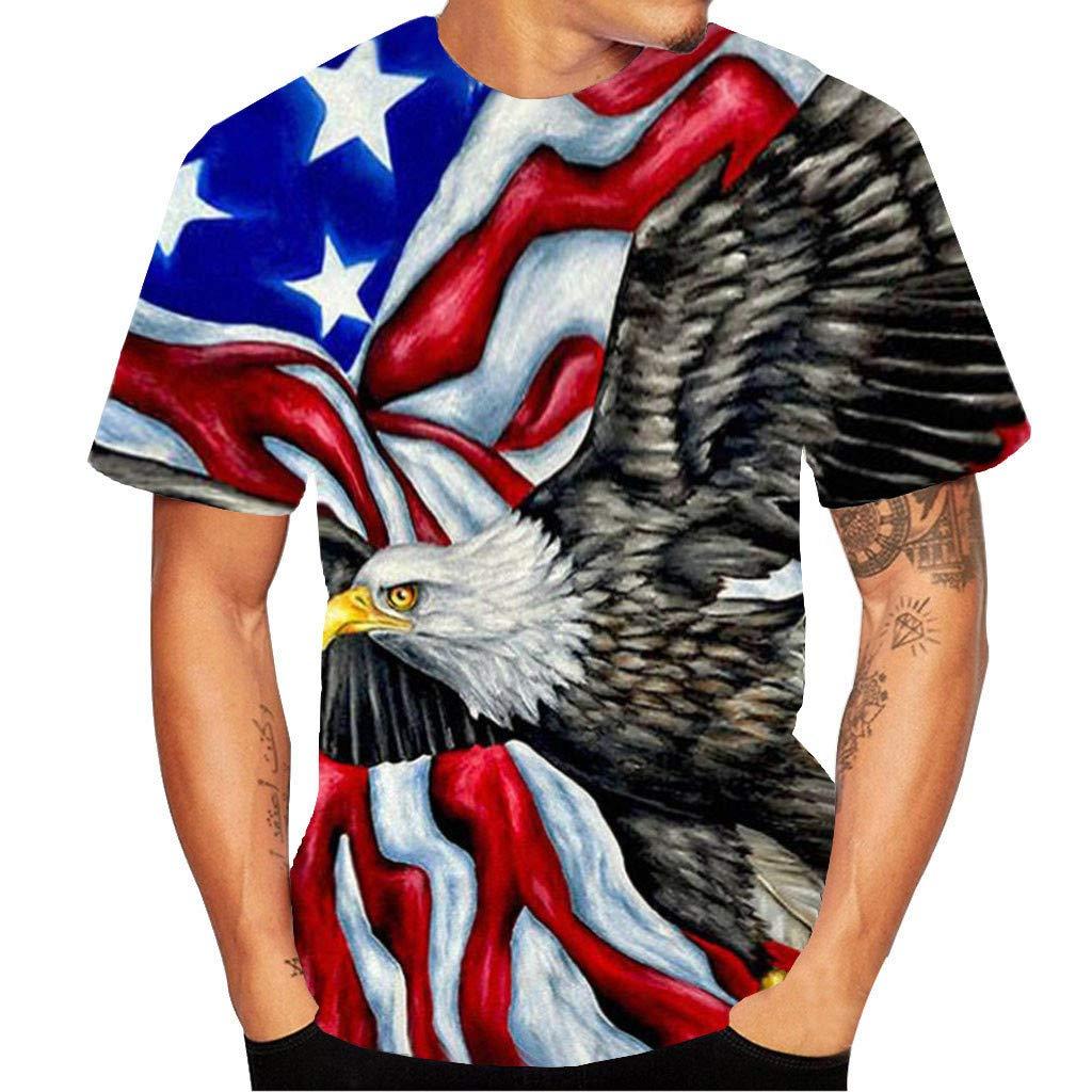 BBesty Mens 3D Print Short Sleeve T-Shirt Save 15/%