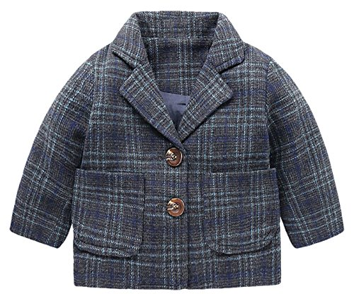 Boys Plaid Blazer Coat Jacket Soft Cotton Blended Fabric Both Side With Pocket Design Outerwear Coat Lapel Long Sleeve Outwear Purplish Blue 6-7 T (Cotton Plaid Blazer)