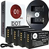 4x DOT-01 Brand 1200 mAh Replacement Blackmagic Pocket Cinema Batteries and Dual Slot USB Charger for Blackmagic Blackmagic Pocket Cinema Camera Digital Camera and Blackmagic Pocket Cinema Battery
