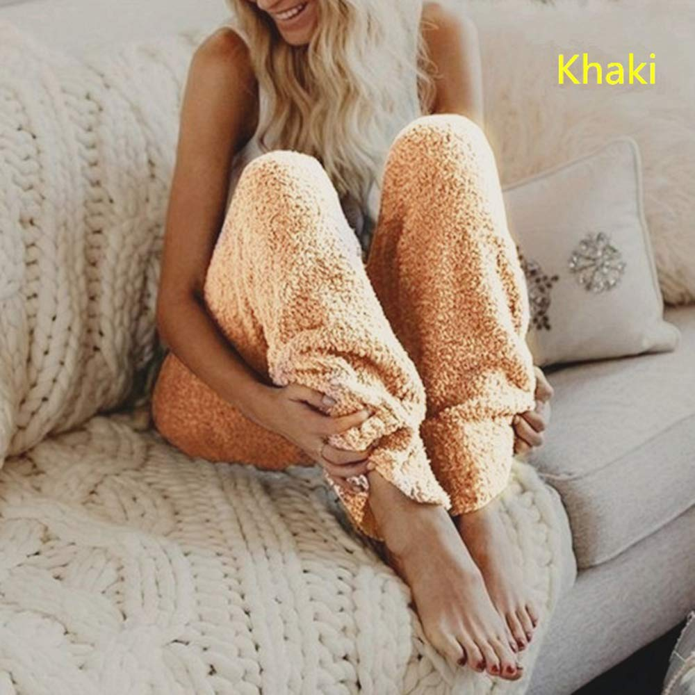 1pc Solid Color Warm Soft Casual Trousers Cozy Pajama Bottoms for Autumn Winter S - 3 XL LAIYYI Womens Plush Pajama Pants