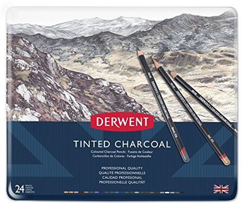 (Derwent Tinted Charcoal Pencils, 4mm Core, Metal Tin, 24 Count (2301691))