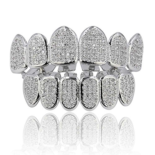 Bar Silver Iced Out Grillz - JINAO 18k Gold Plated All Iced Out Luxury Rhinestone Gold Grillz Set with Extra Molding Bars Included (Silver Set)