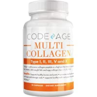 Codeage Multi Collagen Protein Capsules, Type I, II, III, V, X, Grass Fed & Hydrolyzed...