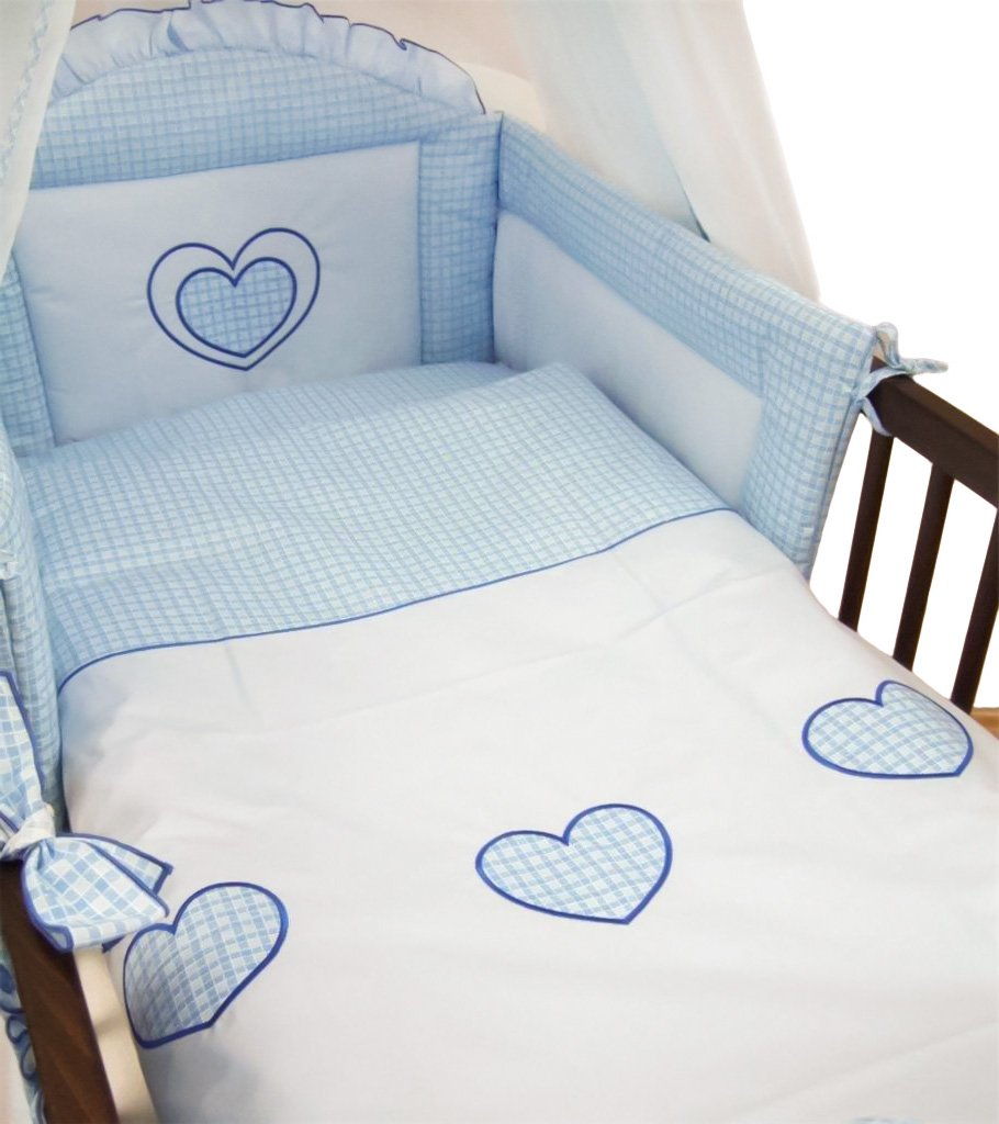 6 Piece Embroidered Baby Bedding Sets to fit Cot & Cotbed - (Cot 120 x 60cm, Hearts Blue) Babycomfort