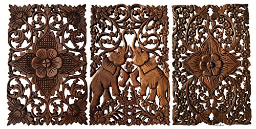 Asiana Home Decor Set of 3. Wall Art Wood Carved Lucky Elephant and Floral Panel, Size 12