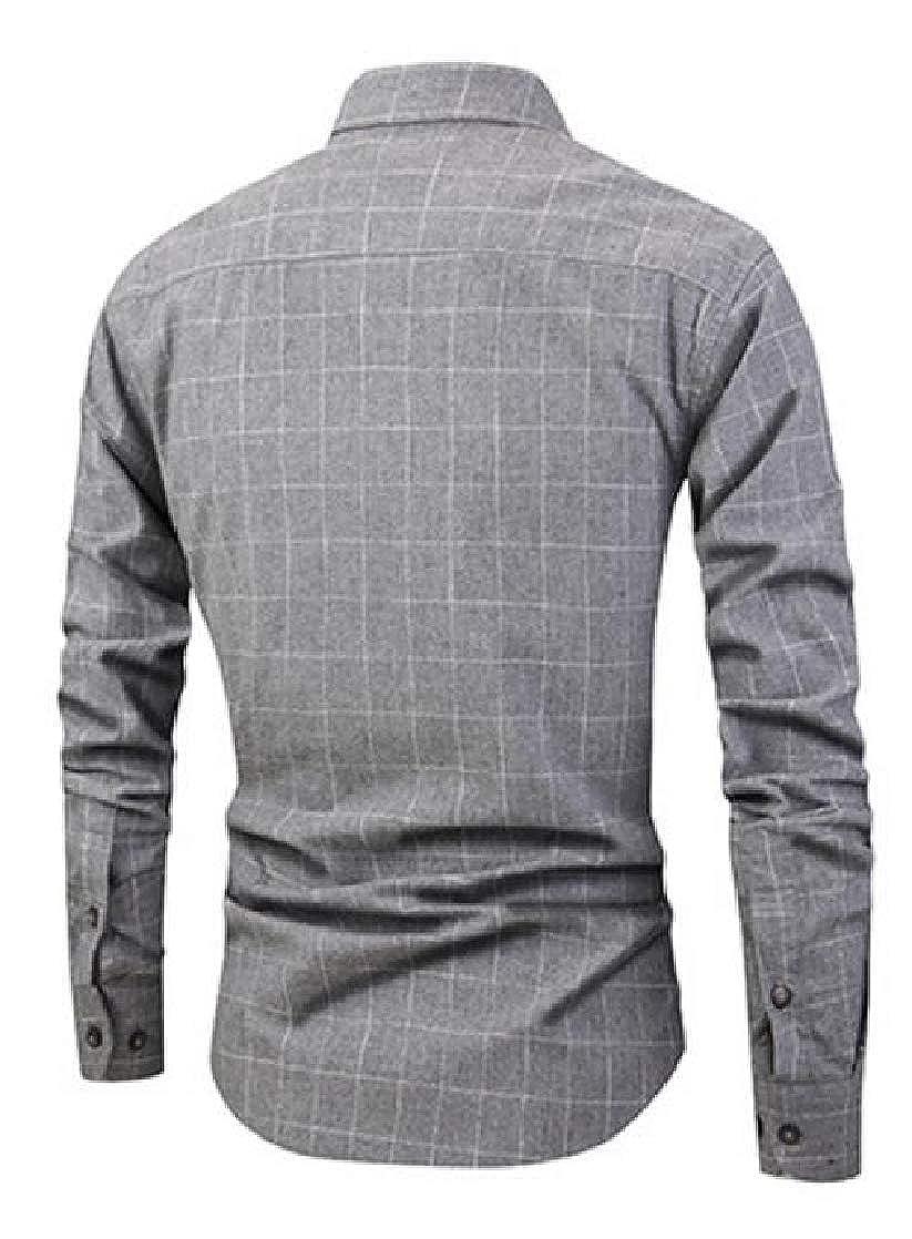 CrazyDayMen Long-Sleeve Casual Turn Down Collar Plaid Long Sleeve Fit Longshirt