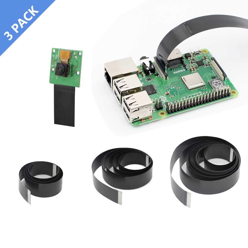 Raspberry Pi Camera Cable, iUniker 15 Pin Ribbon Flat Cable, Pi Camera Flex Cable, Flex CSI Cable 50cm/1m/2m for Raspberry Pi 3B+, 3B, 2B (Not for Pi Zero)