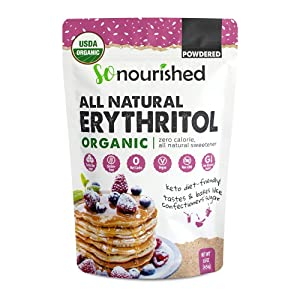 Organic Powdered Erythritol Sweetener (1 lb / 16 oz) - Perfect for Diabetics and Low Carb Dieters - Confectioners - No Calorie Sweetener, Non-GMO, Natural Sugar Substitute