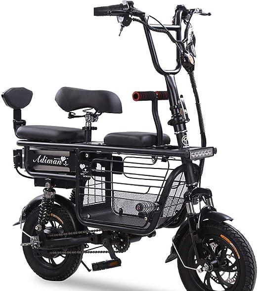 FJW Unisexo Bicicleta electrica 48V 400W Bicicleta híbrida de Doble suspensión Ebike de 12 Pulgadas con Frenos de Disco y Horquilla de suspensión (batería de Litio extraíble),Black,15A: Amazon.es: Hogar