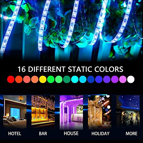 Led Strip Lighting Waterproof 5M 16.4 Ft 5050 RGB 150LEDs Flexible Color Changing Full Kit with 44 Keys RF Remote Controller, Control Box,12V 2A Power Supply by LEN (Image #1)