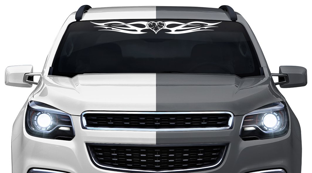 Sticky Creations - Design #142-01 Heart Tribal Flame Accent Windshield Decal Sticker Vinyl Graphic Back Rear Window Banner Tailgate Car Truck SUV Boat Trailer Wall | 36''x4.25'' - White