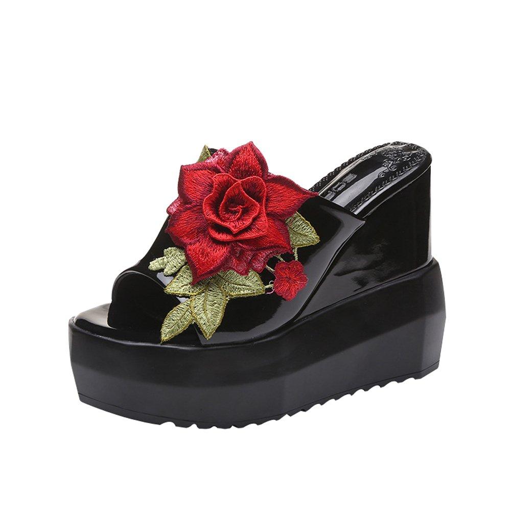 Abuyall Femmes Sandales Haute D ¨¦t¨¦ Rose Brod¨¦ Pantoufles Haute Talon 19559 Semelle Imperm¨¦Able Toe Sandales Pantoufles Tongs Plage Natation Chaussures Pt1 8e4b593 - automatisms.space