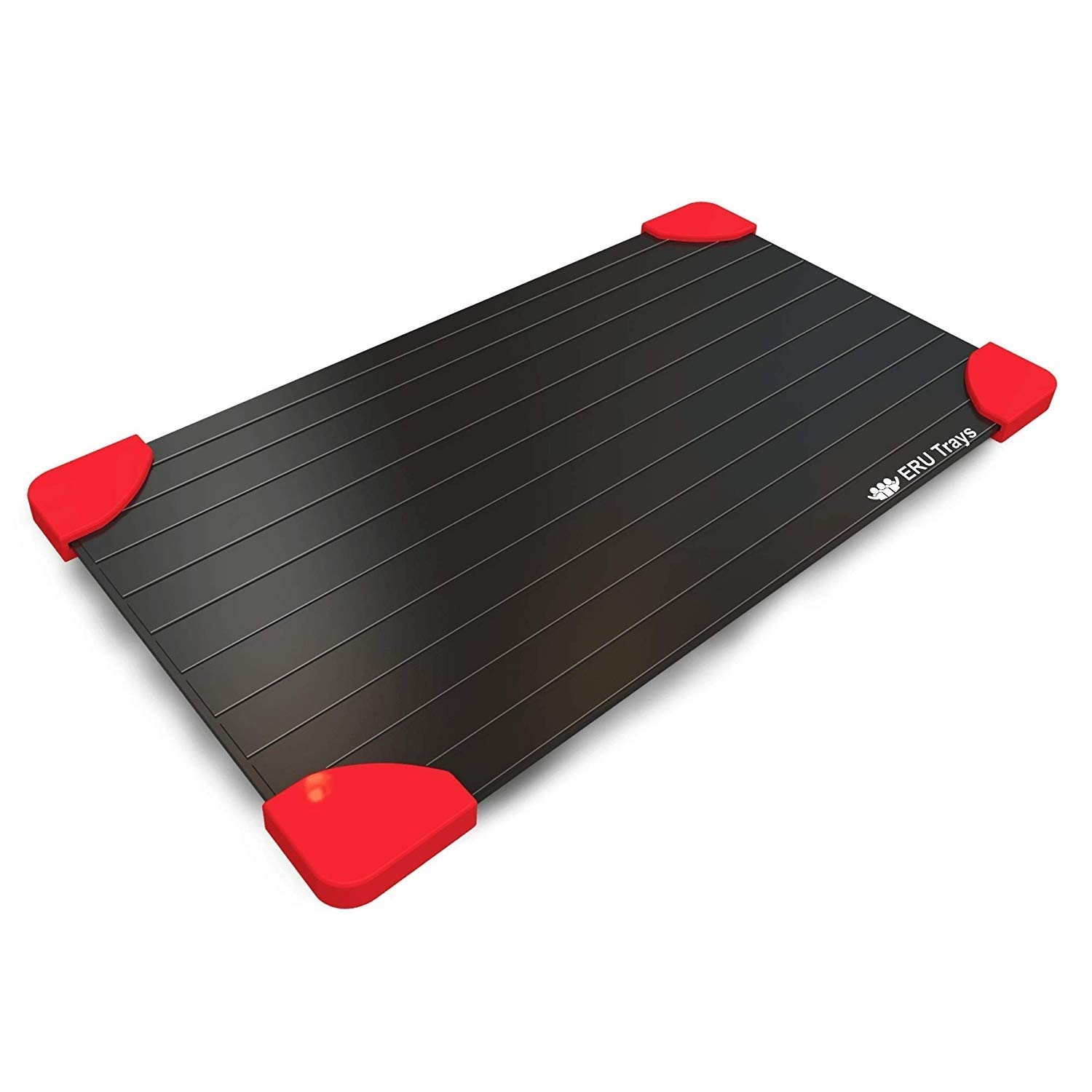 ERU erutray Largest Size 3 mm Magic Fast Thawing Plate for Frozen Foods-No Battery, No Microwav Defrosting Tray, 8x14 inch, Black