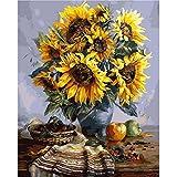 "DiyOilPaintings Golden Flower and Moon Paint By Number Kits, 20""x16"", Golden Paint By Numbers Kits"