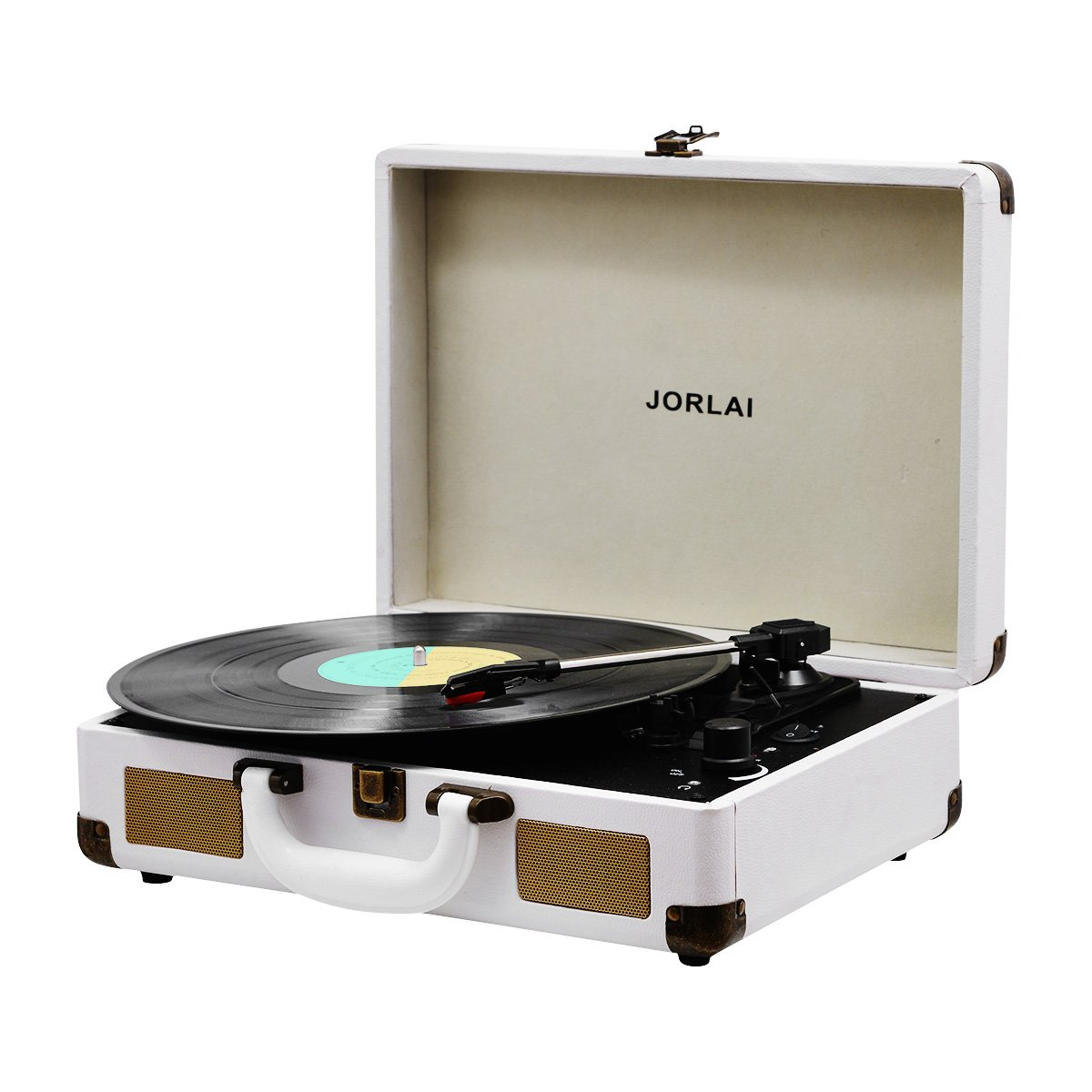 Vinyl Record Player JORLAI Turntable, 3 Speed Bluetooth Record Player Suitcase with Built in Speakers/ Rechargable Battery/ Vinyl-to-MP3 Recording/ Headphone Jack/ Aux Input/ RCA Line Out - White