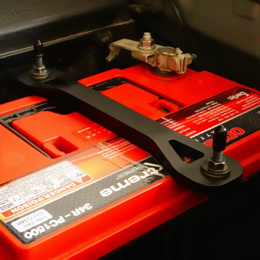 Aluminum Car Battery Tie Down Bracket Matte Black