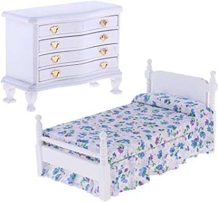 Fityle 1/12 Dollhouse Bedroom Furniture Accessories Wooden Cabinet & Floral  Bed Set Toys Gifts