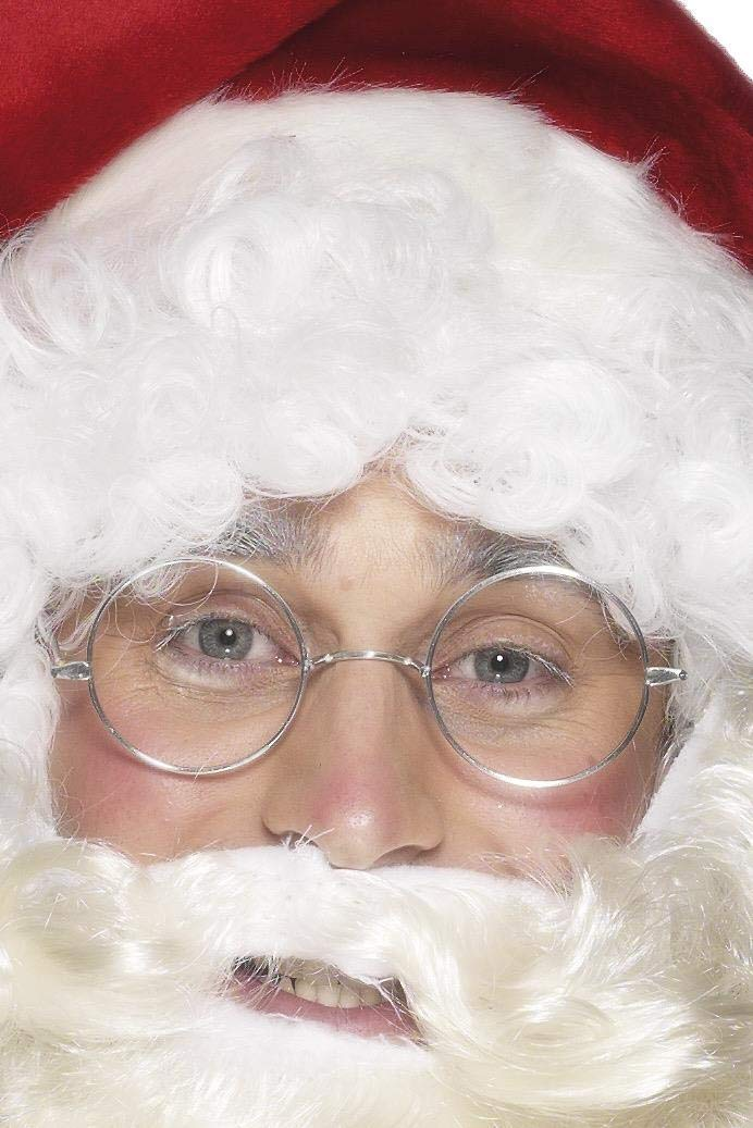 Smiffys Wire Framed Santa Specs Costume Accessory,Silver,One Size