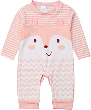 Newborn Baby Boys Girls Cartoon Romper Jumpsuit Bodysuit Kids Clothes Outfits