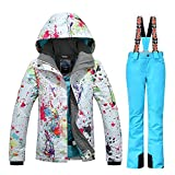 GSOU SNOW New Women Winter Warm Windproof Waterproof Breathable Ski Suit Jacket(colorful cloths with 2XL Yellow pants)