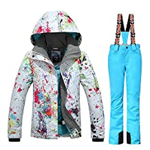 GSOU SNOW New Women Winter Warm Windproof Waterproof Breathable Ski Suit Jacket(colorful cloths with Small Yellow pants)