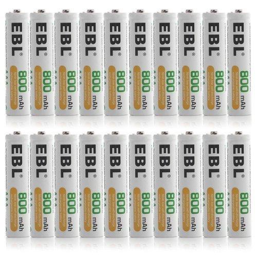EBL 800mAh NiMH AAA Rechargeable Batteries, 20 ()