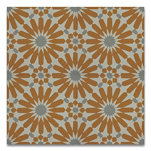 Moroccan Mosaic & Tile House CTP54-02 Alhambra 8''x8'' Handmade Cement Tile in Orange and Gray (Pack of 12), (Handmade Tile)