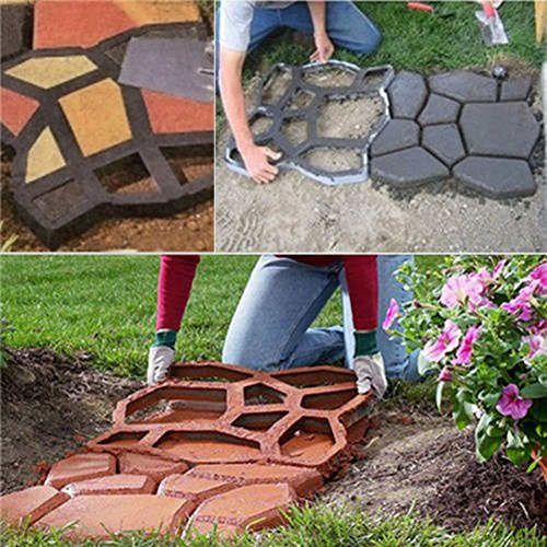 Pathmate Stone Mold Paving Pavement Concrete Stepping Stone Paver Walk Maker Garden Lawn Path Paver Black (And Brick Patio Cement)