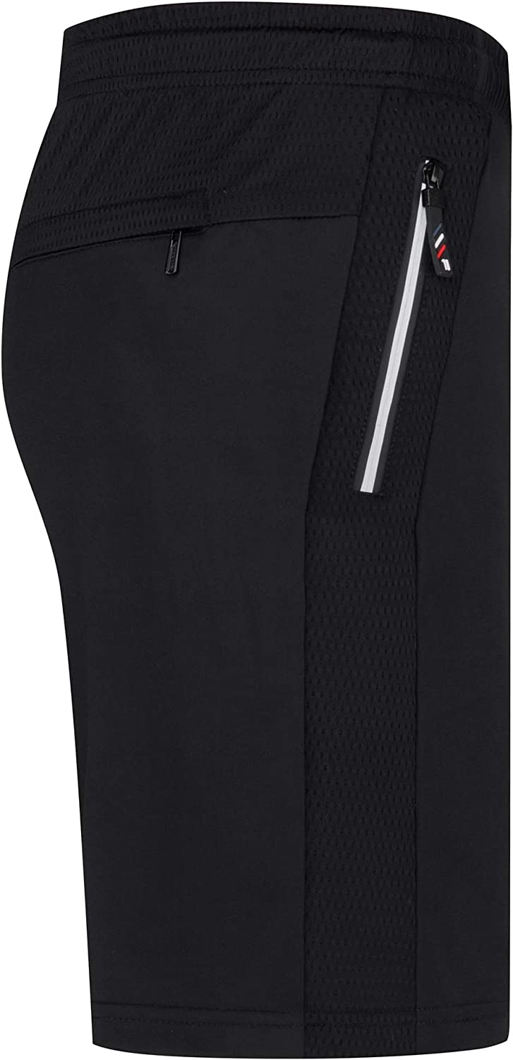 ELEFINE Active Mens Workout Running Gym Athletic Basketball Shorts with Zip Pockets