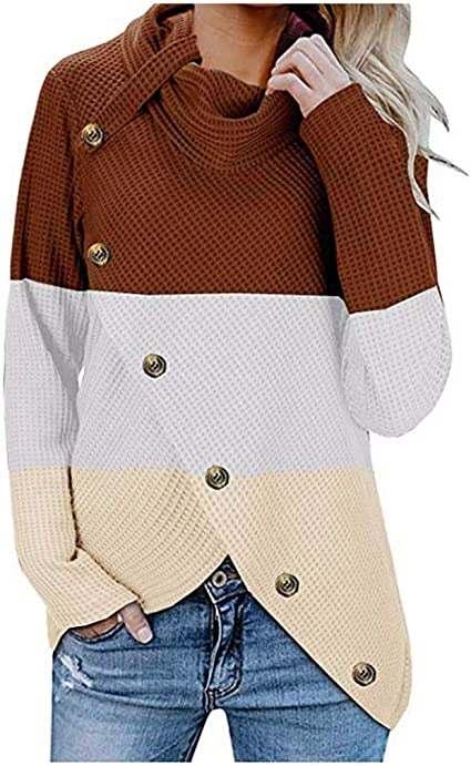Longzjhd Femmes Automne Hiver Bouton Pull Casual Col Roulé