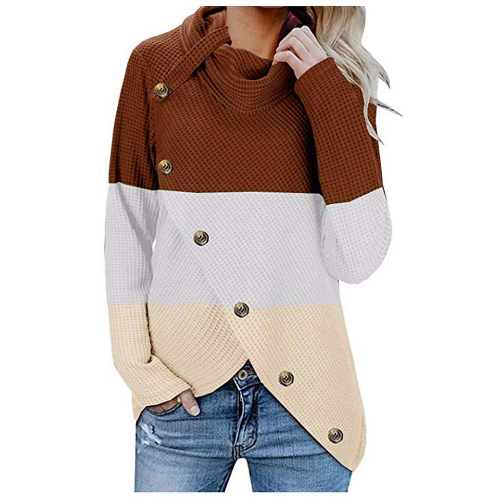 Women Autumn Winter Turtleneck Button Patchwork Long Sleeves Pullover Tops Sweaters Coat Outwear
